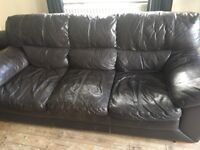 Brown leather 3 & 2 seater sofas