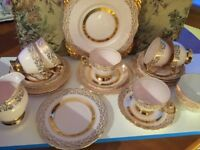 STUNNING RARE VINTAGE PINK AND GOLD TUSCAN 21PIECE CHINA TEA SET, EXCELLENT CONDITION