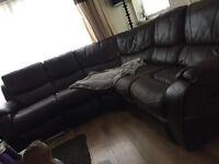 Chocolate leather coner sofa