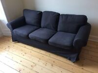 sofa - classic 3 seater, black removable cover, £100.