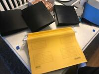 24 handing file folders and 4 A5 ring binders