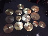 Job lot of drum kit cymbals - crash Hi Hat ride splash