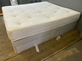 SUPER KING SIZE GREY DIVAN BED BASE WITH MATTRESS GOOD QUALITY £149 FREE DELIVERY