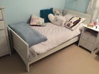 NEXT WHITE SINGLE BED WITH MATTRESS VGC