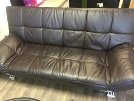 Faux leather large sofa bed