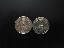 £1 coin - Cardiff; Belfast.