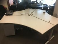 Hexagonal white 3-pod office desks with cable management and dividers