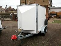 BLUE LINE 4 wheel box trailer 7x4x5 with rear ramp, easy loader