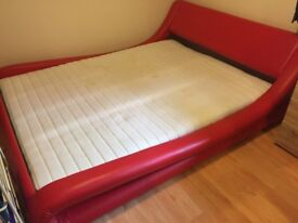 Italian King faux leather designer bed and mattress.