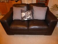 Two Brown Leather 2 Seater Sofas