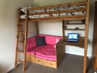 Single bunk bed with sofa bed and desk