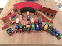 wooden trains, buildings and track