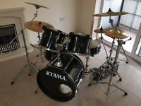 Tama Rockstar Drum Kit + Sabian Cymbals, Hardware & Cases