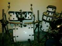 "Full drum kit Premier Cabria 5 piece with extra 8"" toms x2"