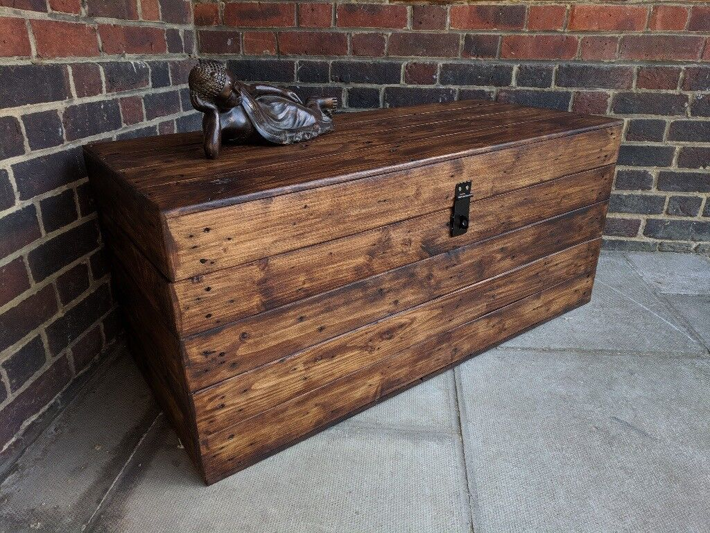Large Wooden Trunk Bench Ottoman Storage Chest Rustic