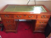 Large mahogany effect colonial style desk