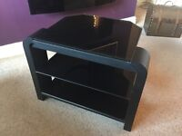 John Lewis - Sturdy TV Stand - glass shelves