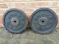 CAST IRON 2 x 15KG WEIGHT PLATES