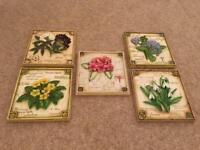 Marks and Spencer Hand painted floral wall plaque