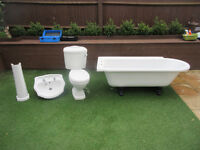 Bath Tub Free Standing Roll Top With Feet Single Ended Corner Toilet Sink Taps Bathroom Suite USED
