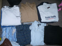Huge bundle/job lot of 14 men clothes, most size L and XL. All clean and unsorted. For resale.