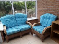 Two piece wicker conservatory furniture set
