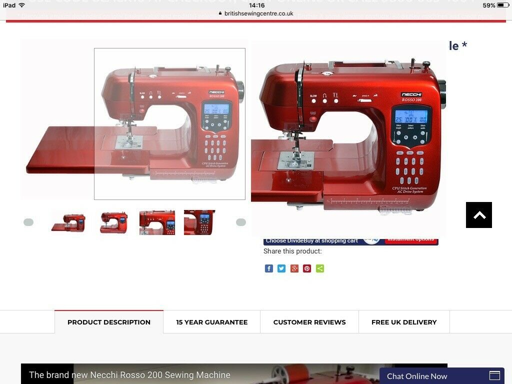 Necchi Rosso 200 computerised sewing machine.shiny Red,brand new in box,, unwanted Christmas gift.