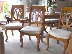 6 Dining Chairs incl. 2 Carvers. Solid. wood construction