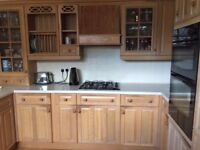 Kitchen units in Limed Oak, Hob, Oven, Hood, Grill, Worktop, Sink,