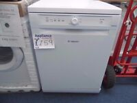 NEW GRADED WHITE HOTPOINT DISHWASHER W/12 MONTHS WARRANTY REF: 11616
