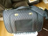 Pet travel bag black quilted used once