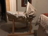 Mamas and Papas Ivory Moses Basket and rocking stand