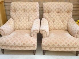 Pair of Victorian style library chairs