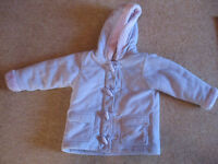PURPLE DUFFLE COAT age 3-4 PERFECT COND - lined /zip/toggles - BARGAIN +FREE FOREVER FRIENDS BEANBAG