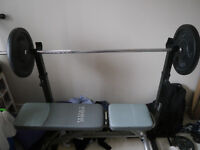 gym set (barbells,weight stands,weights,gym bench)
