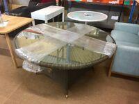 Ex Display: John Lewis Dante 6 seater round garden table, brown RRP 400