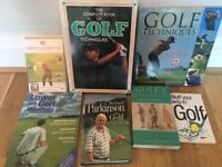 Selection of golf books and video