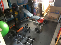 Weight bench, wieghts & fitness equiptment