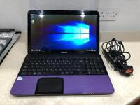 Toshiba SATELLITE C855-29M, 8GB Ram, 1TB HDD, Purple Laptop Windows 10, Office 2016