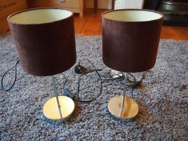 Brown suede effect and silver lamps, from Next, for bedroom/living/dining room