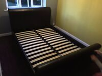 Faux Leather Double Bed Black/Brown £35