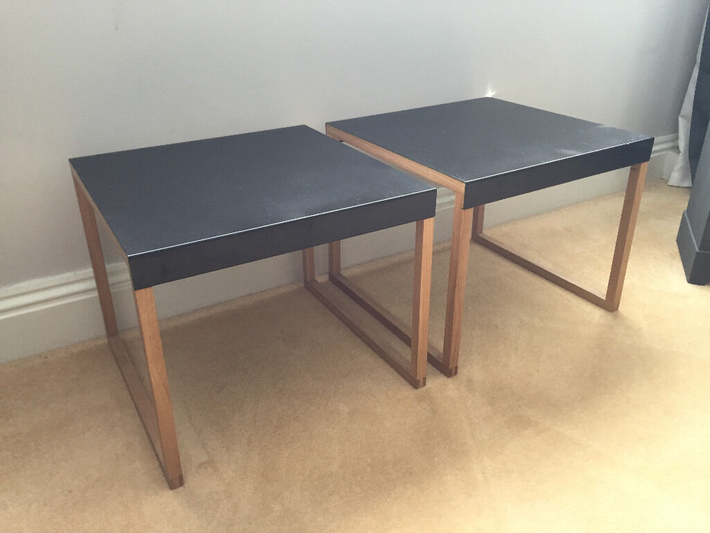 two habitat kilo black side tables furniture homeware | in