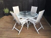 Outdoor Glass Table, 4 Chairs, Parasol and Cover