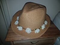 Summer Hat with Flowers. One Size fits all. Brand New.