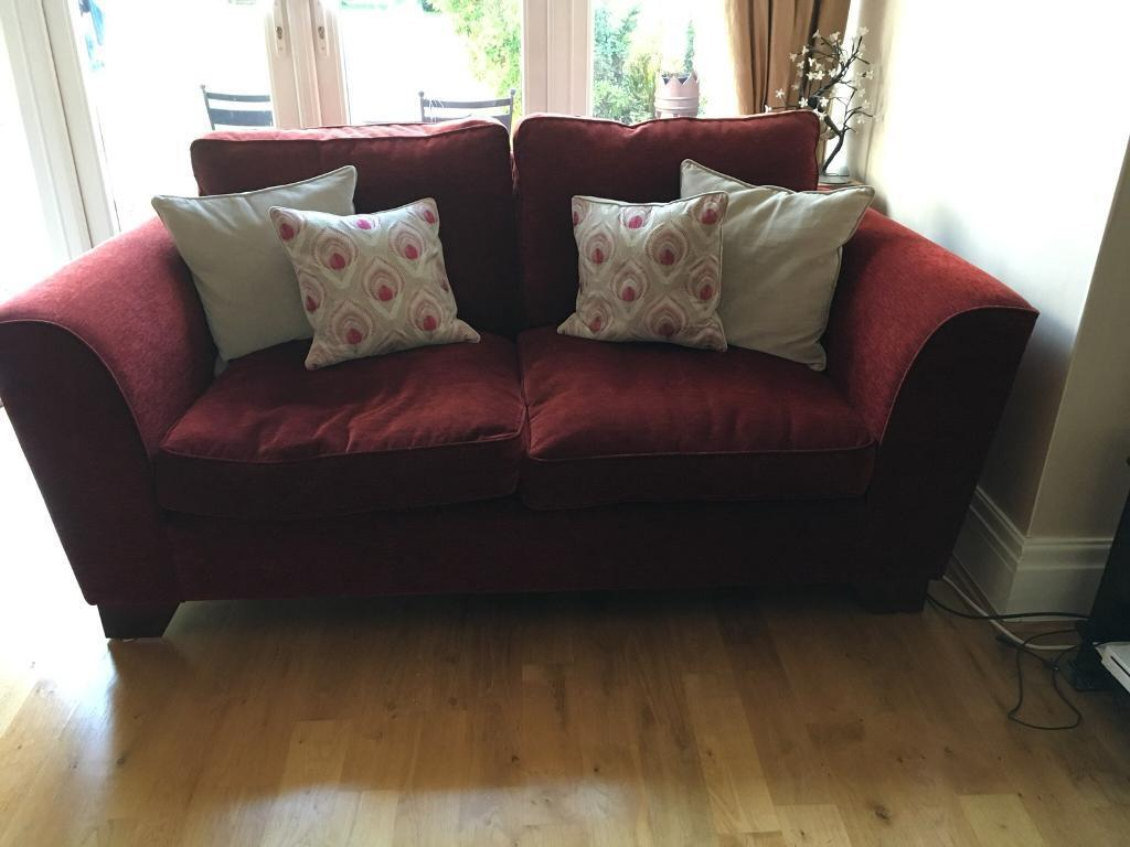 Red Chenille Fabric Two and Three seater couches