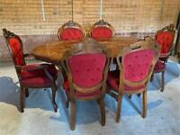 Antique / Dining Table and Six Mahogany Chairs/ Victorian style / furnitures