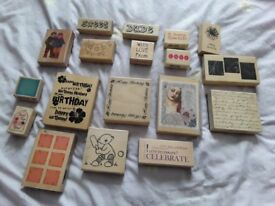 Large selection of assorted rubber stamps