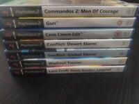 PS2 Games Bundle: Commandos 2, Gun, Bully, WipEout Fusion, Tomb Raider Legend