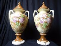 Pair Museum Victorian Antique Porcelain Dome Topped Lidded Hand Painted Vases