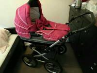 Stunning travel system pink and grey